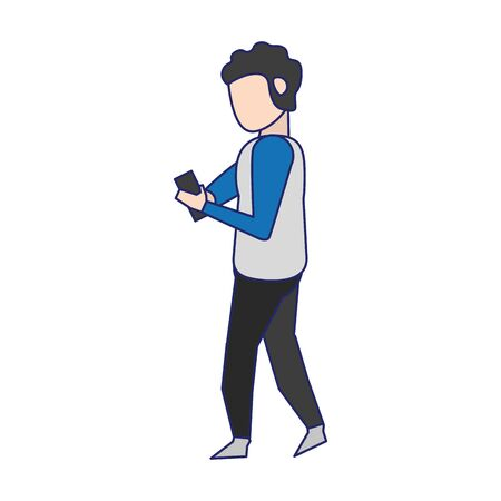 social networks and online bussiness and young boy with smartphone symbols vector illustration graphic design