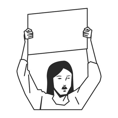social activity and public protest woman raising a blank sign cartoon character in black and white vector illustration graphic design Ilustrace