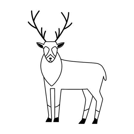 horned deer icon over white background, vector illustration