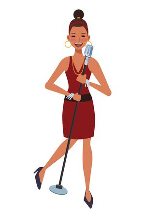 singer with microphone avatar cartoon character vector illustration graphic design