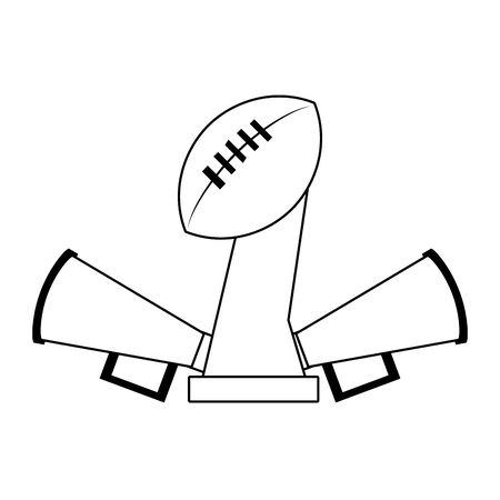 american football sport game champion trophy with megaphones cartoon vector illustration graphic design