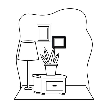 Office workplace drawer with plant top and light lamp elements cartoons ,vector illustration graphic design.