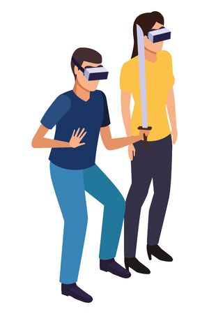 virtual reality technology, young couple living a modern digital experience with headset glassesand sword cartoon vector illustration graphic design 일러스트