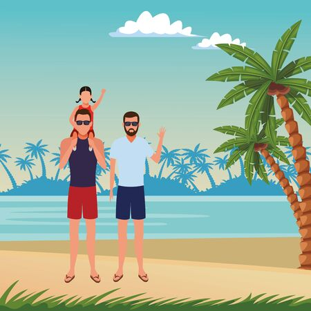 summer vacation men with girl at beach cartoon vector illustration graphic design Ilustrace