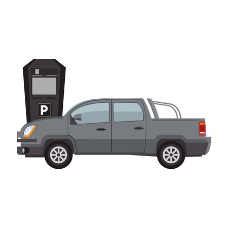 parking car and parking meter over white background, vector illustration 일러스트