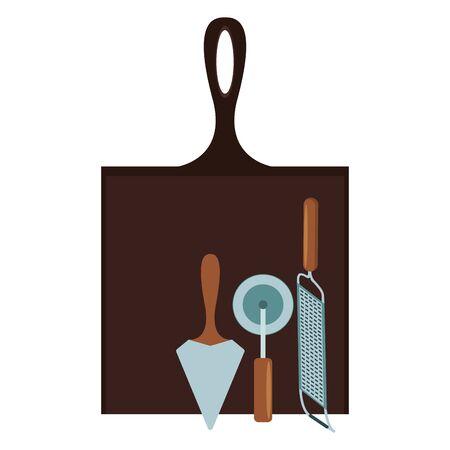cutter and grater with kitchen utensils over white background, vector illustration Illusztráció
