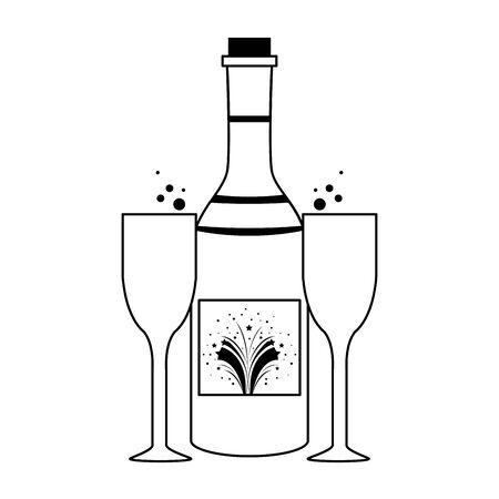 party festive celebration carnival happy entertainment, alcoholic champagne drink with glasses cartoon vector illustration graphic design