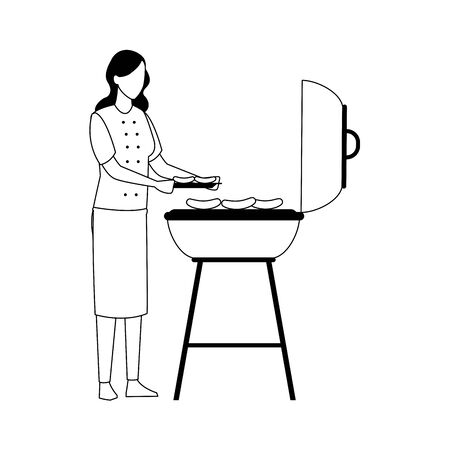 woman and bbq grill icon over white background, vector illustration Stock Vector - 133836776