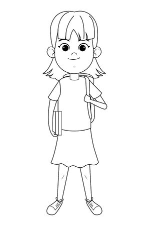 young little girl standing holding a book and a bag in black and white vector illustration graphic design Ilustracja