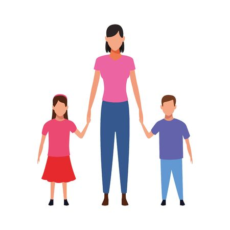 avatar mother with her little daughter and son over white background, vector illustration