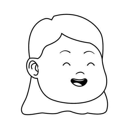 cartoon girl face smiling over white background, vector illustration Illustration