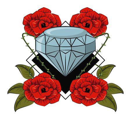 Tattoo studio old school drawings emblem vector illustration graphic design Ilustracja