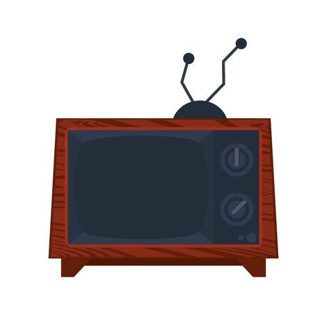 Old television with antenna vintage technology vector illustration graphic design
