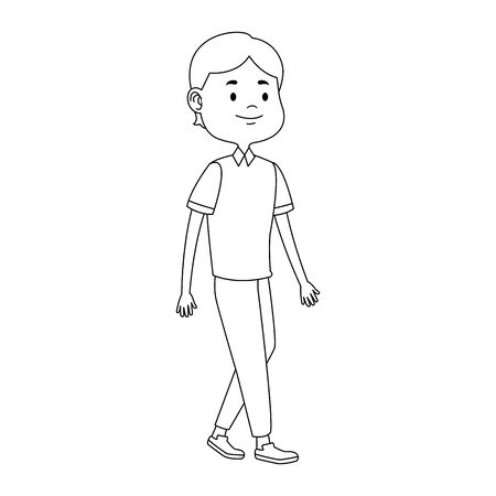 cartoon tennage boy walking icon over white background, vector illustration Illustration