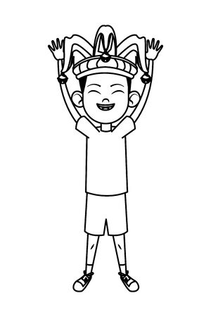 boy smiling and wearing jester hat with jingle bells avatar cartoon character black and white vector illustration graphic design Reklamní fotografie - 133845458