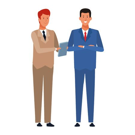 cartoon business men standing icon over white background, colorful design. vector illustration Ilustrace