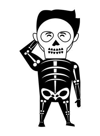 man with halloween skull costume vector illustration design Ilustrace