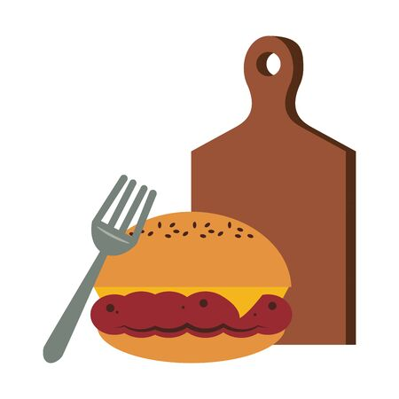 Barbecue food hamburger with fork on table vector illustration graphic design