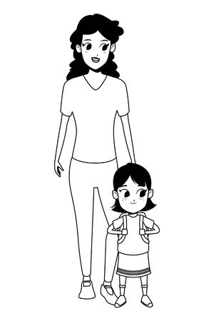 Family single mother with kid daughter holding school backpack isolated vector illustration graphic design Vektorgrafik