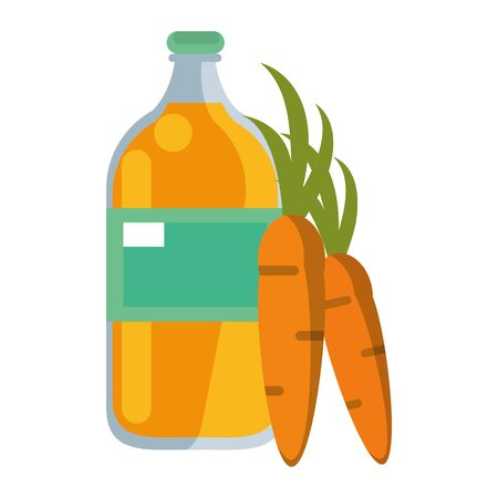 healthy drink juice carrot nature bottle cartoon vector illustration graphic design