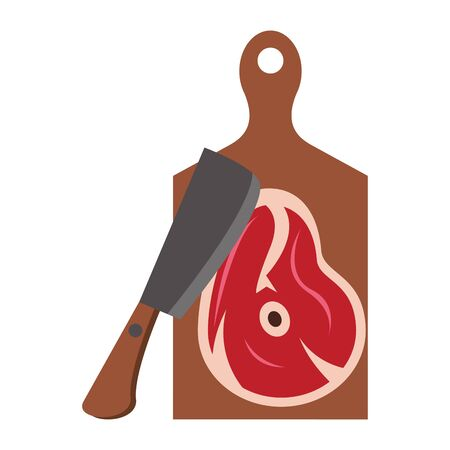 Barbecue food steak and axe on table vector illustration graphic design