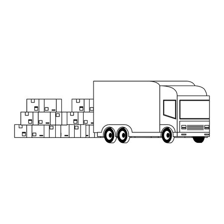 Delivery van with boxes and merchandise isolated vector illustration Illusztráció