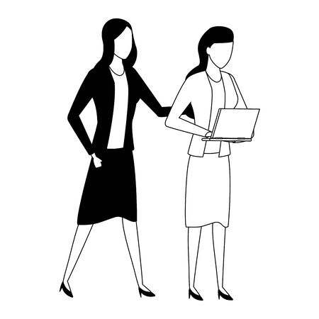 Business partners working with office laptop in black and white isolated faceless avatar vector illustration graphic design