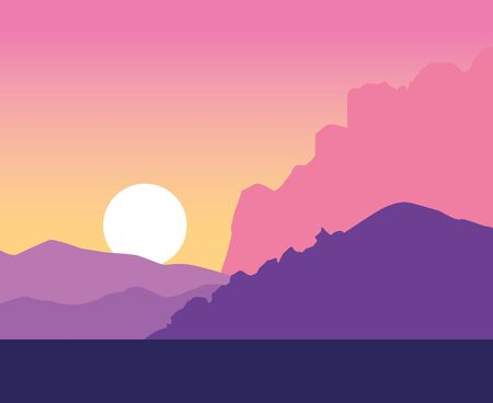 Beautiful nature landscape drawing scenery silhouette in purple pink and orange colors sunset vector illustration graphic design. Stok Fotoğraf - 133848949