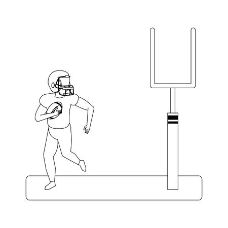 american football sport game goal post with player training with ball cartoon vector illustration graphic design Reklamní fotografie - 133849635