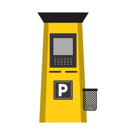 parking meter machine icon over white background, colorful design. vector illustration
