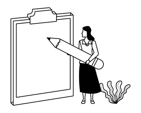 Executive businesswoman with big pencil writing on clipboard ,vector illustration graphic design.