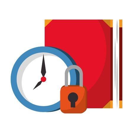 Book and padlock with time clock cartoons vector illustration graphic design Ilustracja