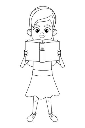 young little girl standing reading a book in black and white vector illustration graphic design Ilustracja