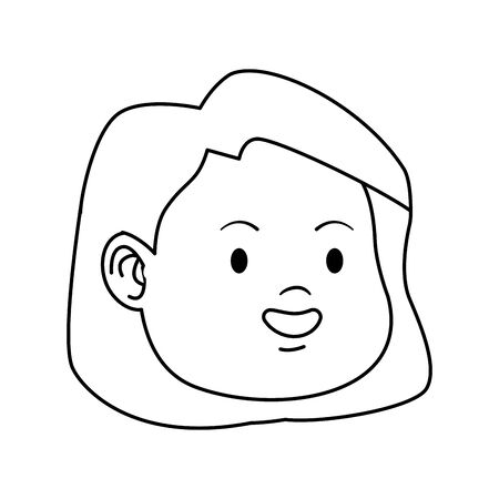 cartoon girl face smiling icon over white background, flat design. vector illustration
