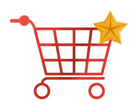 shopping cart and star icons vector illustration design