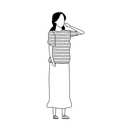 avatar woman with long skirt over white background, vector illustration