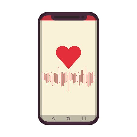 smartphone with cardiac frequency app and isolated symbols vector illustration graphic design