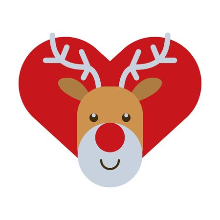 happy merry christmas heart with reindeer character vector illustration design