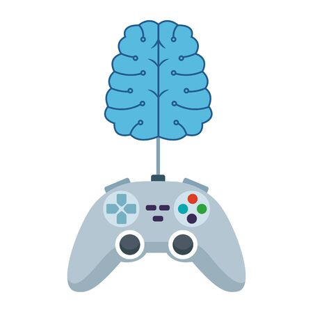 video games play console controller with brain cartoon vector illustration graphic design Çizim
