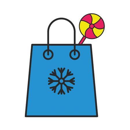 merry christmas gift bag with snowflake vector illustration design
