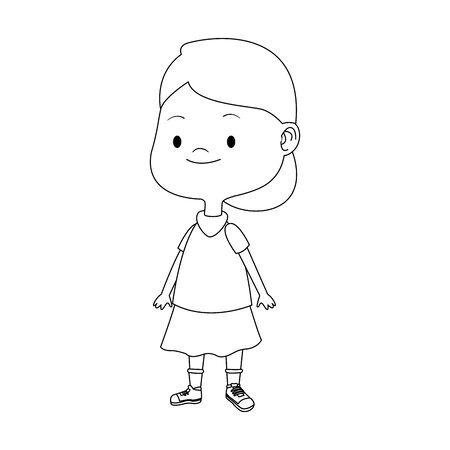 cartoon girl wearing skirt over white background, vector illustration