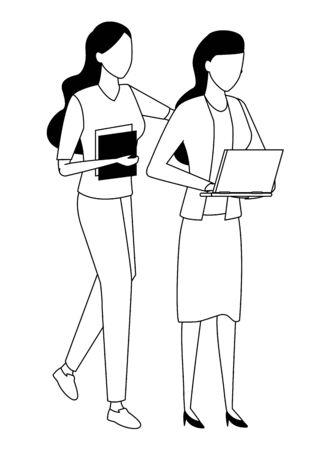 Geschäftspartner, die mit Bürodokumenten und Laptops in schwarz-weißem isoliertem gesichtslosem Avatar-Vektor-Illustrationsgrafikdesign arbeiten Vektorgrafik