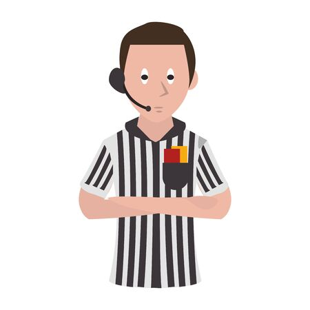 Soccer referee with card and earphones profile cartoon isolated vector illustration graphic design