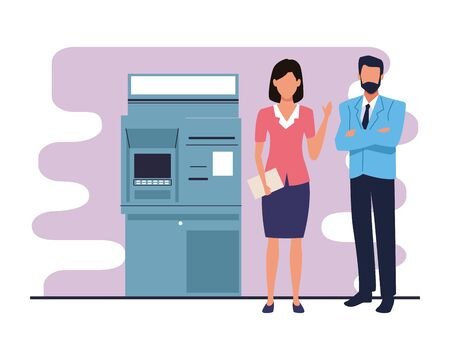 Two business partners working, executive entrepreneur teamwork in the bank atm machine ,vector illustration graphic design.