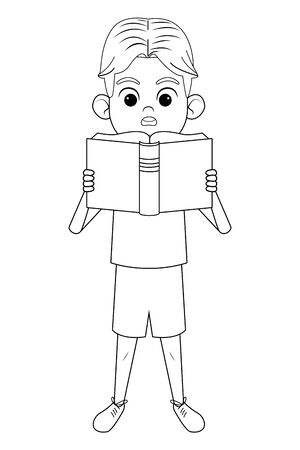 young little boy standing with a book reading it avatar cartoon character in black and white vector illustration graphic design Illustration