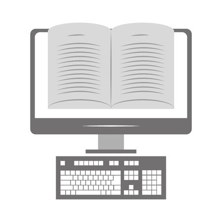 computer with book icon on screen over white background, vector illustration