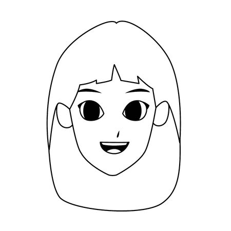 young woman face cartoon icon over white background, vector illustration