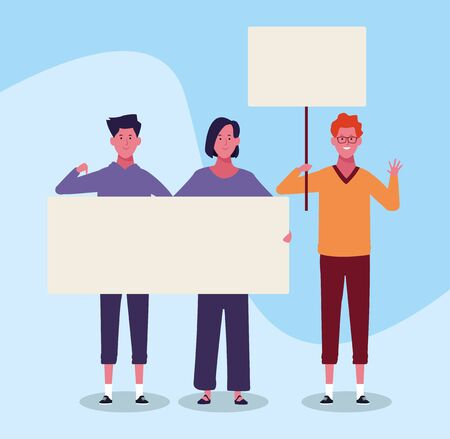 cartoon young people protesting with blank placards over blue background, colorful design. vector illustration