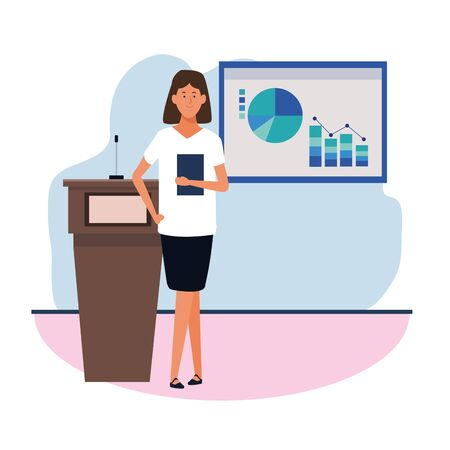 cartoon executive woman standing next to a conference podium and graphic charts, colorful design. vector illustration