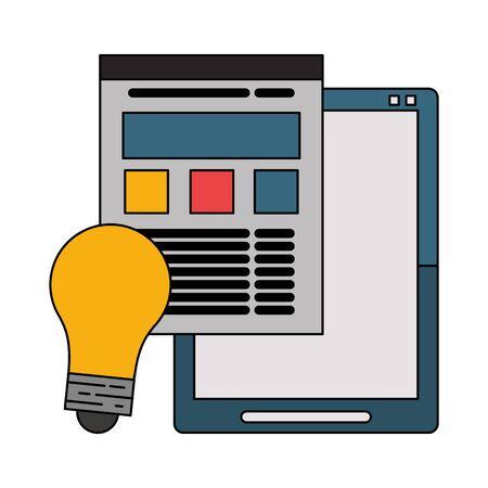 Tablet and website with bulb light symbols vector illustration graphic design Stok Fotoğraf - 133850440